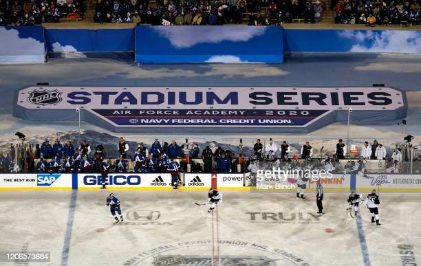 General view of game action is seen during the first period of the 2020 NHL Stadium Series game between the Los Angeles Kings and the Colorado...