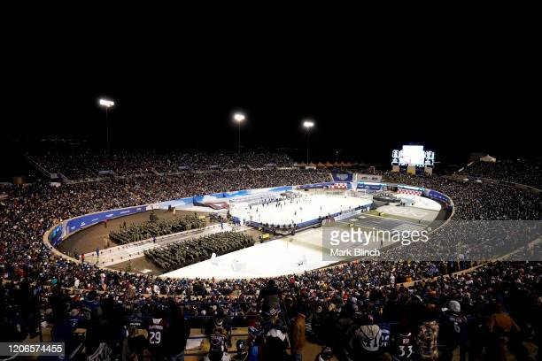 General view of game action is seen during the third period of the 2020 NHL Stadium Series game between the Los Angeles Kings and the Colorado...