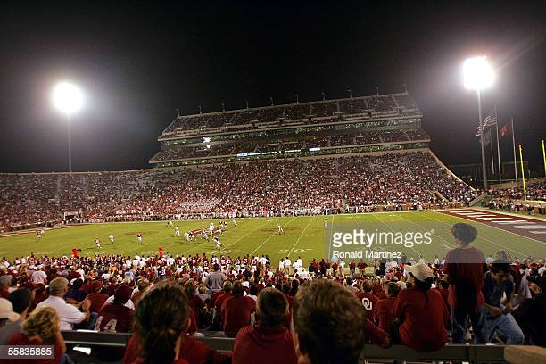 General view of game between the Kansas State Wildcats and the Oklahoma Sooners on October 1 2005 at Memorial Stadium in Norman Oklahoma The Sooners...