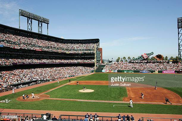 General view of game between the San Francisco Giants and the San Diego Padres on the Opening Day of Major League Baseball on April 3 2007 at ATT...
