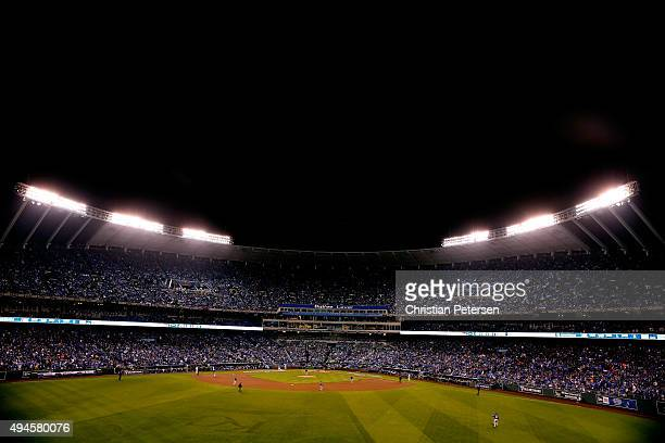 A general view of Game One of the 2015 World Series between the New York Mets and the Kansas City Royals at Kauffman Stadium on October 27 2015 in...