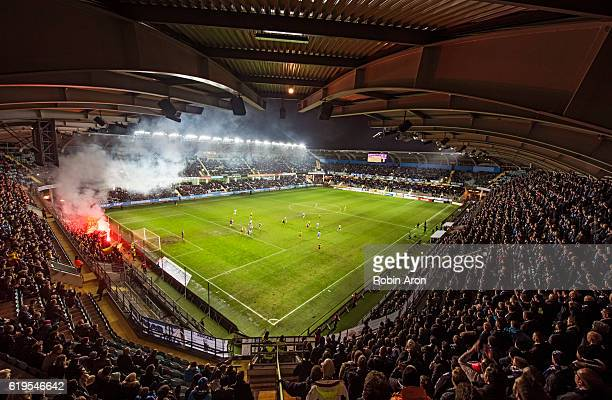 General view of Gamla Ullevi and fans of IF Elfsborg burning bengals during the Allsvenskan match between IFK Goteborg and IF Elfsborg at Gamla...