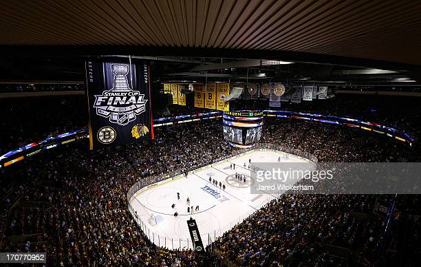 A general view of TD Garden is shown during the national anthem prior to Game Three of the Stanley Cup Final between the Boston Bruins and the...