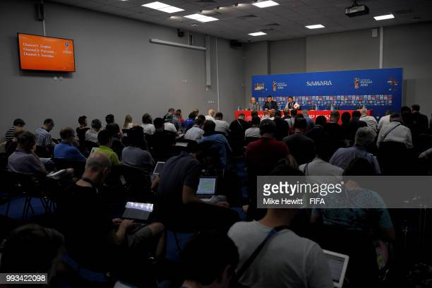 General view of Gareth Southgate Manager of England's press conference following the 2018 FIFA World Cup Russia Quarter Final match between Sweden...
