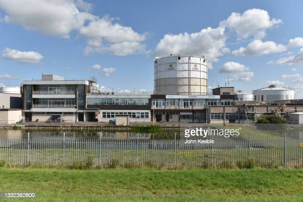 General view of gas storage tanks at the Calor Gas Ltd Terminal Location on the river Thames on August 2, 2021 in Canvey Island, United Kingdom.