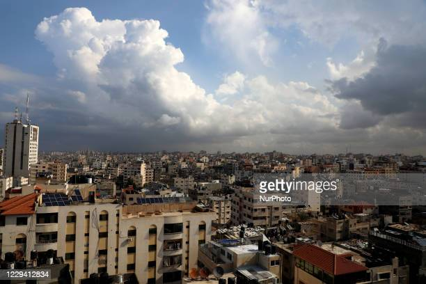 General view of Gaza City during a rainy day, on November 2, 2020.