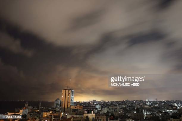 General view of Gaza City prior to the start of a ceasefire brokered by Egypt between Israel and the two main Palestinian armed groups in Gaza on May...