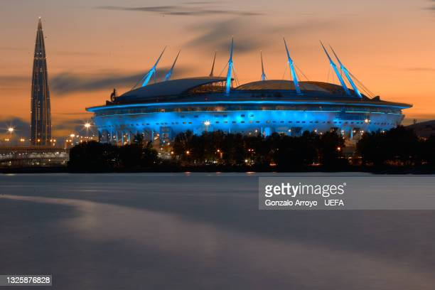 General view of Gazprom Arena and Lakhta Center tower on June 28, 2021 in Saint Petersburg, Russia.