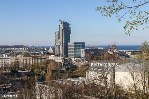 General view of Gdynia city with marina, Sea Towers skyscraper and Baltic Sea Gdansk Bay from the Kamienna Gora hill is seen in Gdynia, Poland on 18...