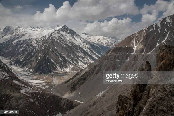 General view of General view of SrinagarLeh highway on April 6 2018 in Zojila 108 km east of Srinagar the summer capital of Indian administered...