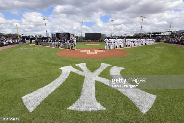 A general view of George M Steinbrenner Field as players and coaches from the Detroit Tigers and the New York Yankees lineup during the National...