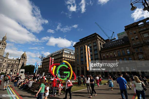 A general view of George Square ahead of 20th Glasgow Commonwealth Games 2014 on July 21 2014 in Glasgow Scotland