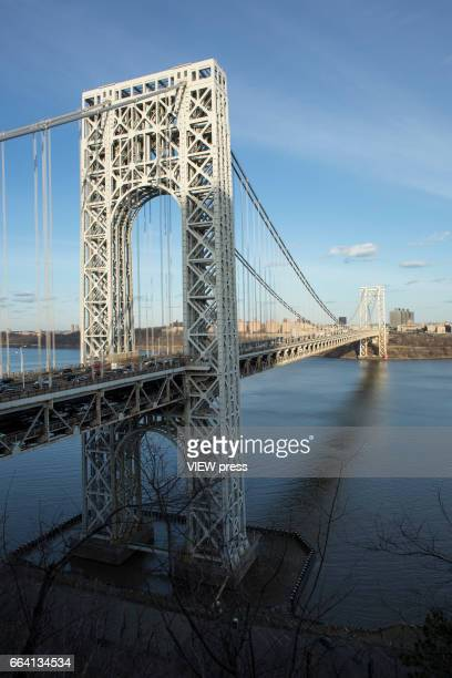 General view of George Washington Bridge along Hudson river between New York and New Jersey on April 2 2017 in Fort Lee New Jersey Photo by...