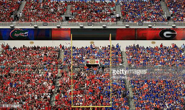 A general view of Georgia Bulldogs and Florida Gators fans at EverBank Field during the game on October 29 2016 in Jacksonville Florida