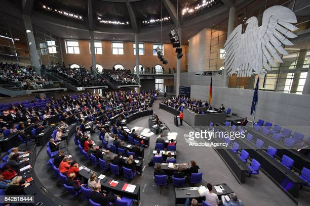 A general view of German parliament Bundestag is seen as German Chancellor Angela Merkel delivers a speech in Berlin Germany on September 05 2017