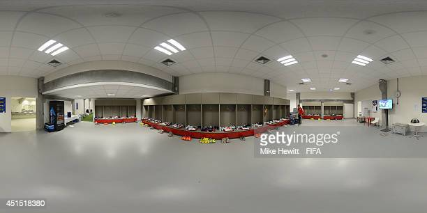 A general view of Germany dressing room before the 2014 FIFA World Cup Brazil Round of 16 match between Germany v Algeria at Estadio BeiraRio on June...