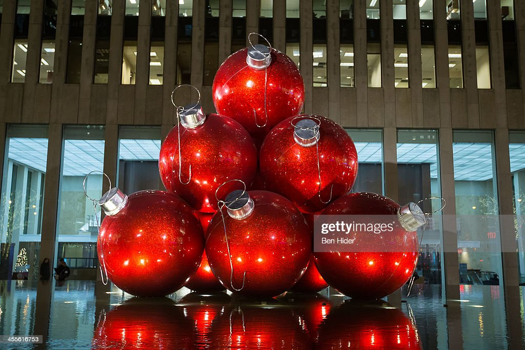 A General View Of Giant Christmas Ornaments In Front Of 1251 Sixth