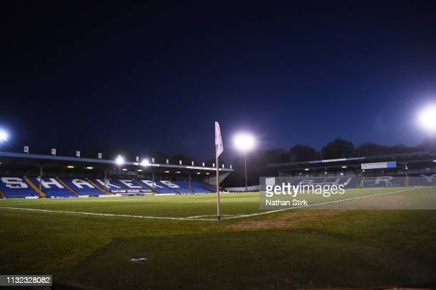 General view of Gigg Lane before the Checkatrade Trophy match between Bury and Portsmouth at Gigg Lane on February 26 2019 in Bury England