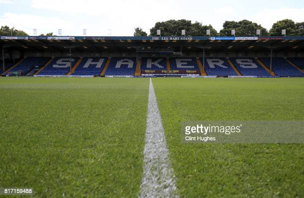 A general view of Gigg Lane during the pre season friendly game between Bury and Huddersfield Town at Gigg Lane on July 16 2017 in Bury England