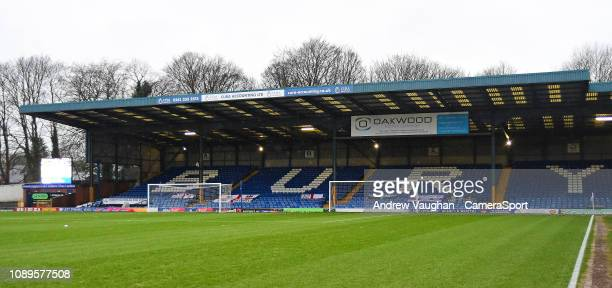 A general view of Gigg Lane home of Bury prior to the Sky Bet League Two match between Bury and Lincoln City at Gigg Lane on January 26 2019 in Bury...