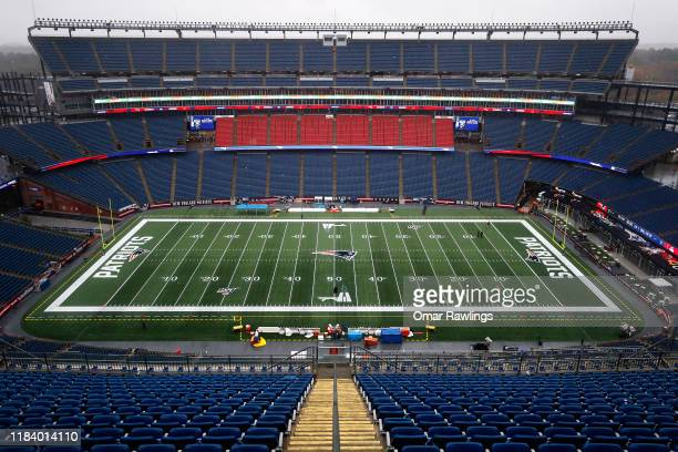 General view of Gillette Stadium before the game between the New England Patriots and the Cleveland Browns at Gillette Stadium on October 27, 2019 in...