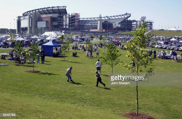 General view of Gillette Stadium before the New York Jets take on the New England Patriots on September 21 2003 in Foxboro Massachusetts The Patriots...