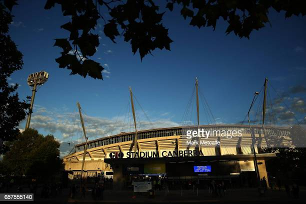 General view of GIO Stadium before the round five Super Rugby match between the Brumbies and the Highlanders at GIO Stadium on March 25, 2017 in...