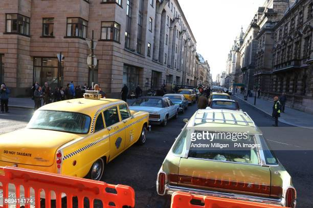 A general view of Glasgow city centre which has been transformed into New York City for the filming of the TV show Melrose starring actor Benedict...