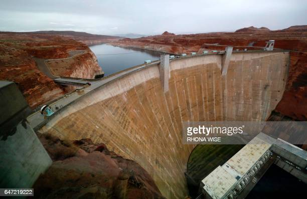 General view of Glen Canyon Dam from the Carl Hayden Visitor Center in Glen Canyon National Recreation Area in Lake Powell, Utah, on February 11,...