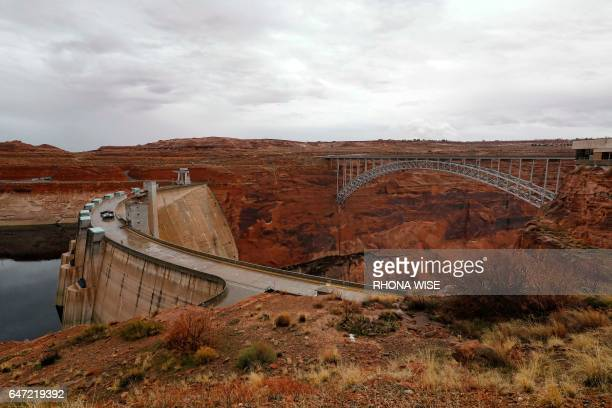 A general view of Glen Canyon Dam from the Carl Hayden Visitor Center in Glen Canyon National Recreation Area in Lake Powell Utah on February 11 2017...