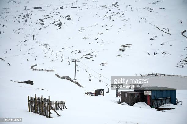 General view of Glencoe Mountain ski slope on February 16, 2021 in Glencoe, Scotland. Scotland's mountain ski centres are having some of the best...