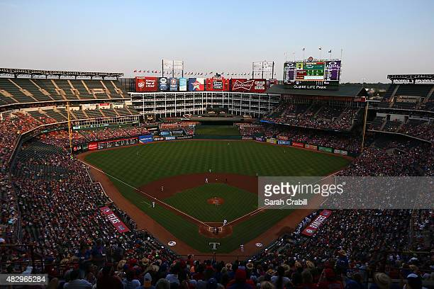 A general view of Globe Life Park in Arlington during a game between the Texas Rangers and the Houston Astros on August 4 2015 in Arlington Texas