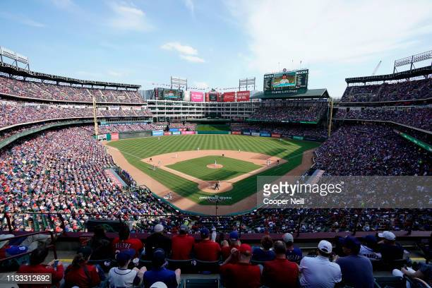 A general view of Globe Life Park in Arlington during the game between the Chicago Cubs and the Texas Rangers at Globe Life Park in Arlington on...