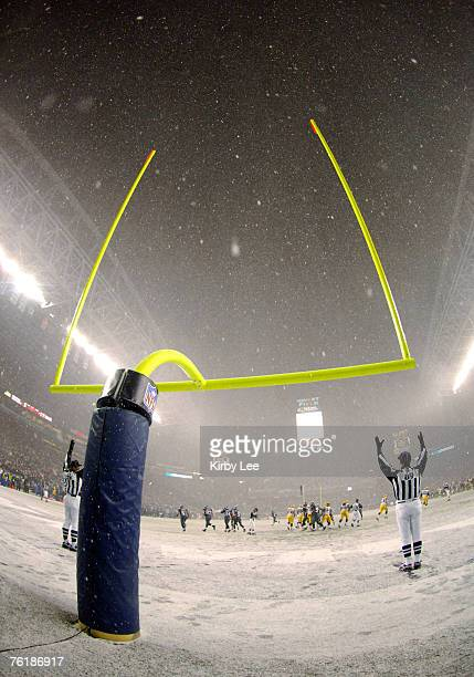 General view of goal posts during a snowy Monday Night Football game between the Green Bay Packers and the Seattle Seahawks at Qwest Field in Seattle...