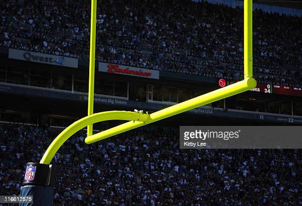 General view of goal posts with NFL logo at Qwest Field in Seattle Wash on Sunday September 24 2006