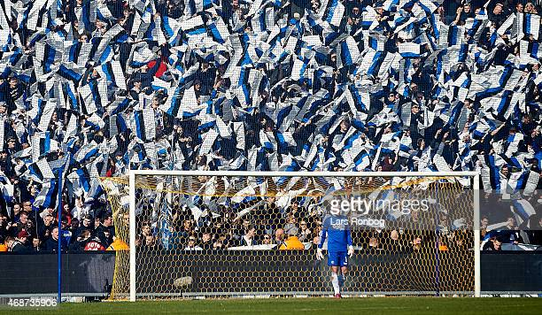 General view of Goalkeeper Stephan Andersen of FC Copenhagen in front of the fans prior tp the Danish Alka Superliga match between Brondby IF and FC...