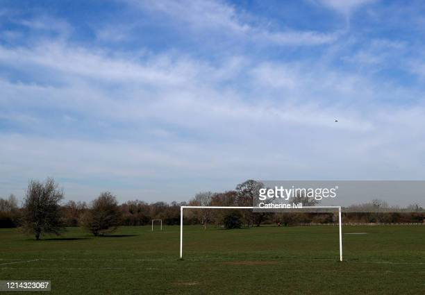 General view of goalposts on an empty football pitch on March 23 2020 in Aylesbury England Coronavirus pandemic has spread to at least 182 countries...