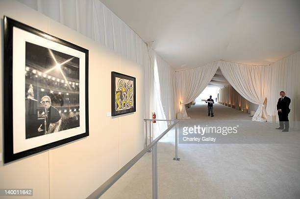 A general view of Godiva at 20th Annual Elton John AIDS Foundation Academy Awards Viewing Party at The City of West Hollywood Park on February 26...