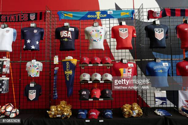 General View of Gold Cup merchandise on sale prior to the 2017 CONCACAF Gold Cup Group B match between the United States and Panama at Nissan Stadium...