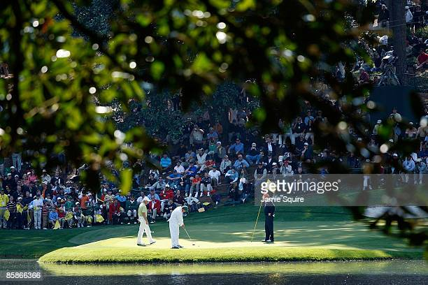 General view of golfers putting seen during the Par 3 Contest prior to the 2009 Masters Tournament at Augusta National Golf Club on April 8, 2009 in...