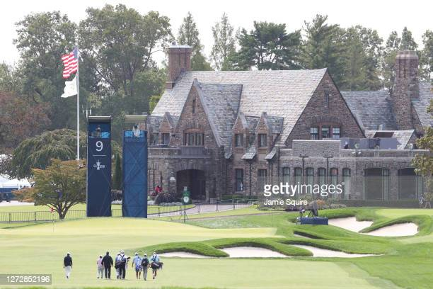 General view of golfers walking on the ninth hole during a practice round prior to the 120th U.S. Open Championship on September 16, 2020 at Winged...