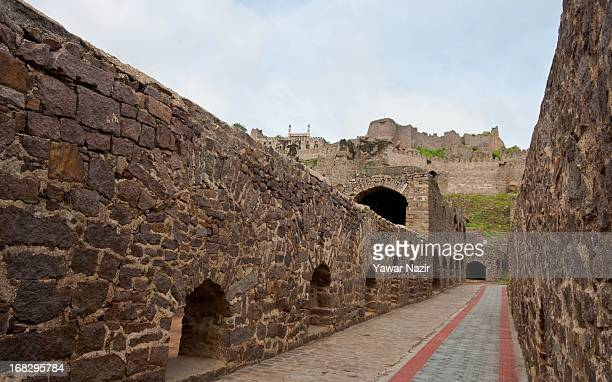 General view of Golkonda Fort in Hyderabad on May 8 2013 in Hyderabad India The Golkonda fort is one of India's renowned citadels situated in...