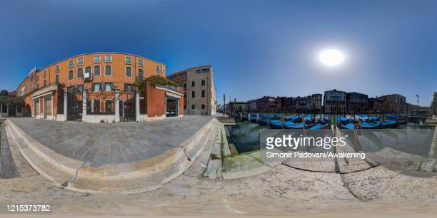 General view of gondolas along the Grand Canal close to Rialto bridge as lockdown continues due to the coronavirus outbreak on March 28, 2020 in...