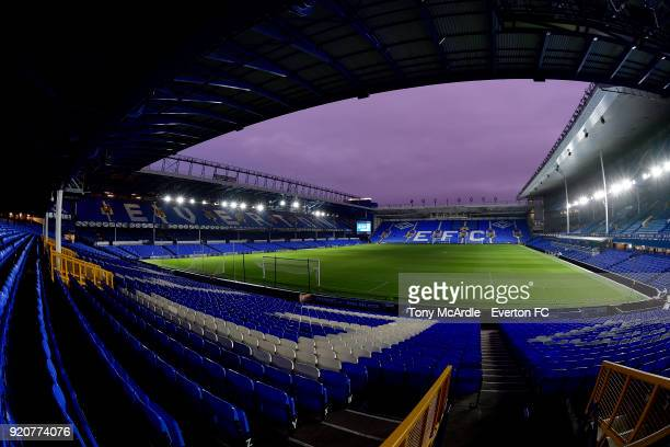 A general view of Goodison Park at dusk before the Premier League 2 match between Everton U23 and Derby County U23 at Goodison Park on February 19...