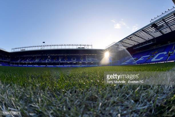 A general view of Goodison Park at sunrise before the Premier League match between Everton and Crystal Palace at Goodison Park on February 8 2020 in...