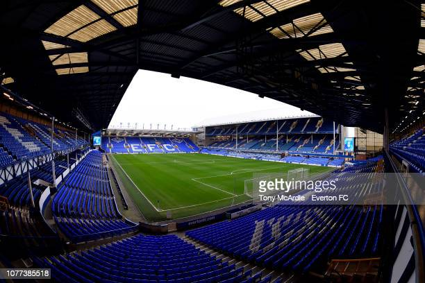 General view of Goodison Park before the Emirates FA Cup Third Round match between Everton and Lincoln City at Goodison Park on January 5, 2019 in...
