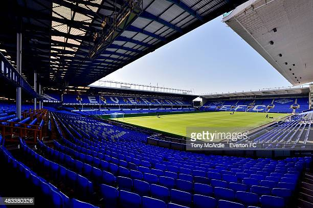General view of Goodison Park before the Premier League match between Everton and Watford at Goodison Park on August 08, 2015 in Liverpool, England.