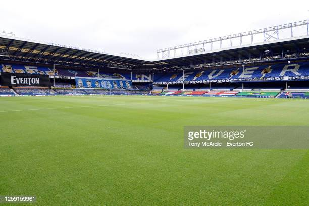 A general view of Goodison Park before the Premier League match Everton and AFC Bournemouth at Goodison Park on July 26 2020 in Liverpool England