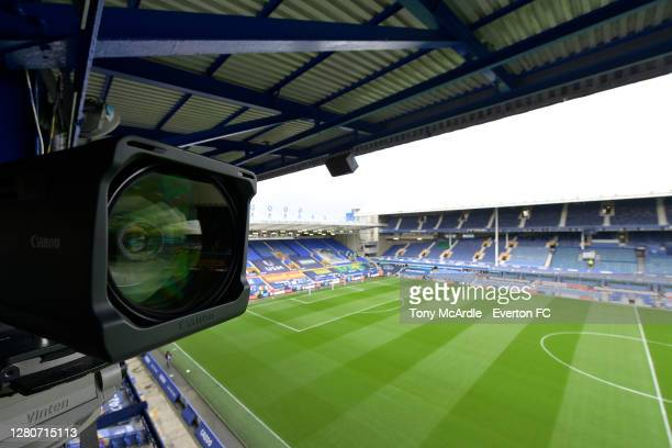 General view of Goodison Park from a television camera gantry before the Premier League match between Everton and Liverpool at Goodison Park on...