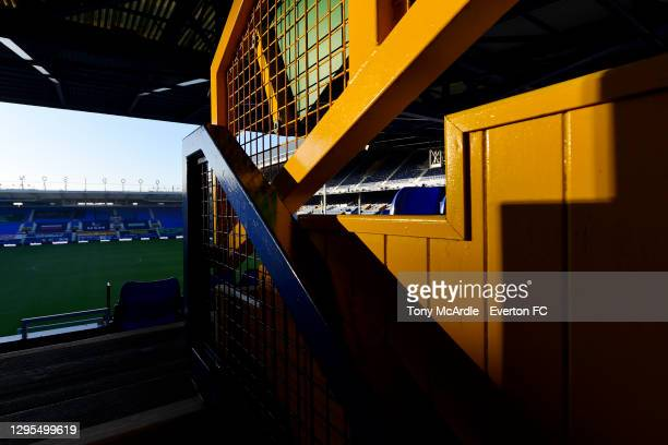 General view of Goodison Park from the Upper Glwadys Street Concourse before the FA Cup Third Round match between Everton and Rotherham United at...